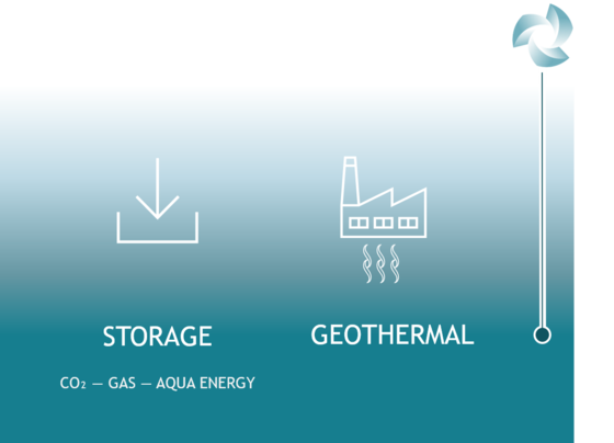 Illustration of renewable storage and geothermal application